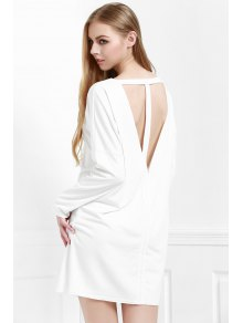 Cut Out Back Scoop Neck 3/4 Sleeve Dress - White
