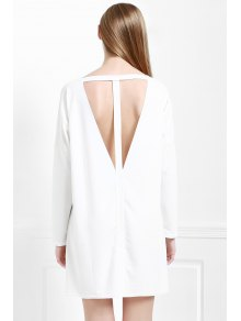 Cut Out Back Scoop Neck 3/4 Sleeve Dress - WHITE S