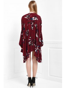 Floral Keyhole Neckline Long Sleeve Dress - WINE RED S