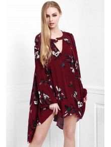 Floral Keyhole Neckline Long Sleeve Dress - Wine Red