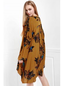 Floral Keyhole Neckline Long Sleeve Dress
