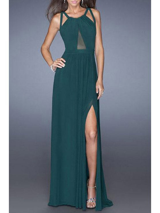 hot Mesh Design High Slit Crisscross Back Prom Dress - GREEN M