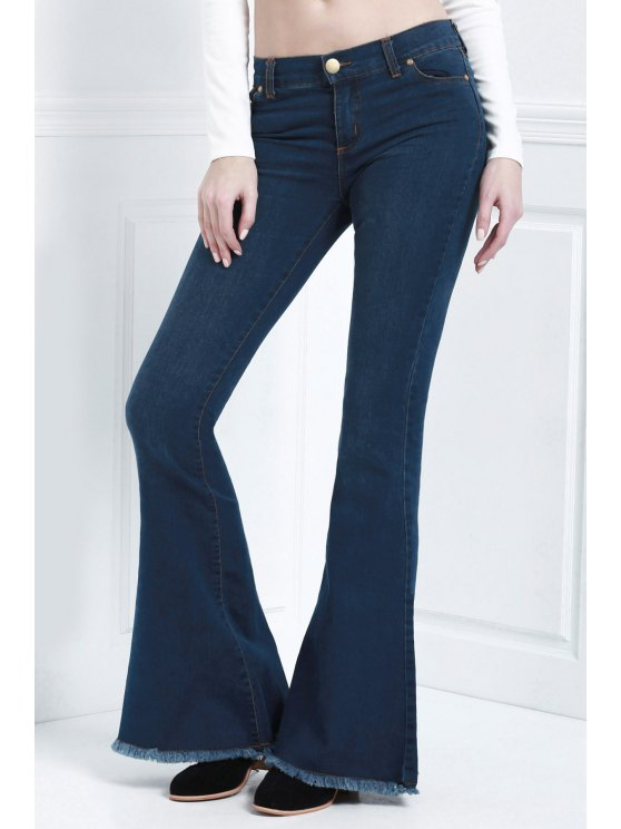 outfit Bell Bottom Stylish Pure Color Women's Jeans - BLUE S
