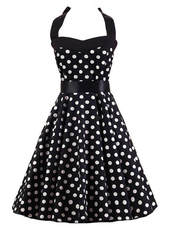 Lunares cabestro vestido de la llamarada - Blanco y Negro M