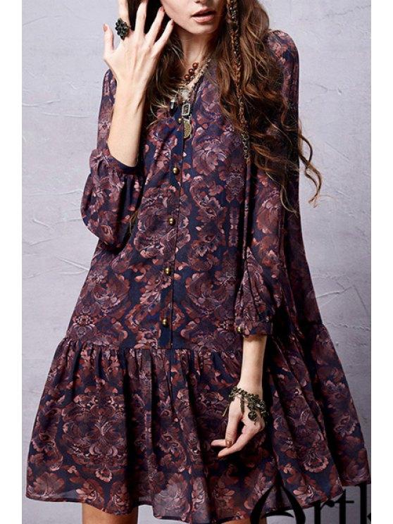 hot Ethnic Print Long Sleeve Chiffon Dress - DEEP PURPLE L