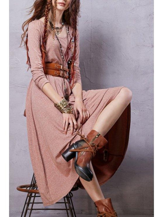 best Heathered Scoop Neck Long Sleeve Dress - SHALLOW PINK XL
