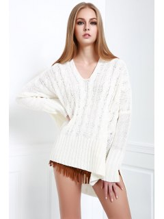 V-Neck Cable Knit High Low Sweater - White L