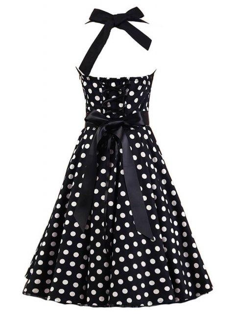 chic Polka Dot Halter Flare Dress - WHITE AND BLACK M Mobile