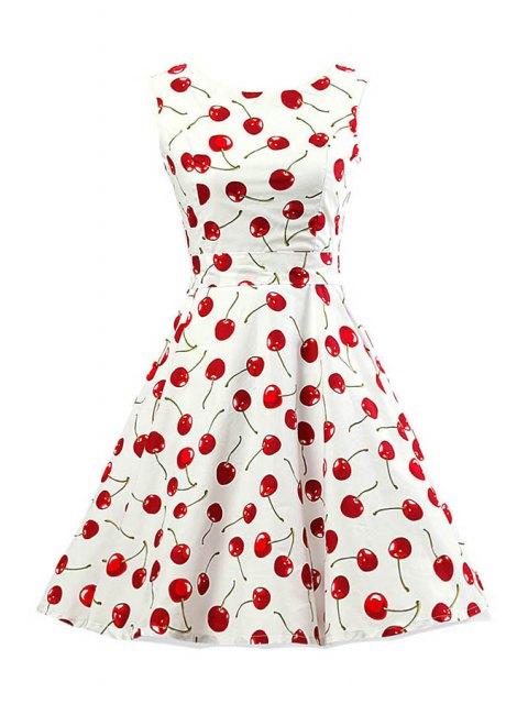 womens Cherry Print Scoop Neck Sleeveless Flare Dress - WHITE M Mobile