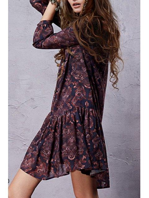 hot Ethnic Print Long Sleeve Chiffon Dress - DEEP PURPLE L Mobile