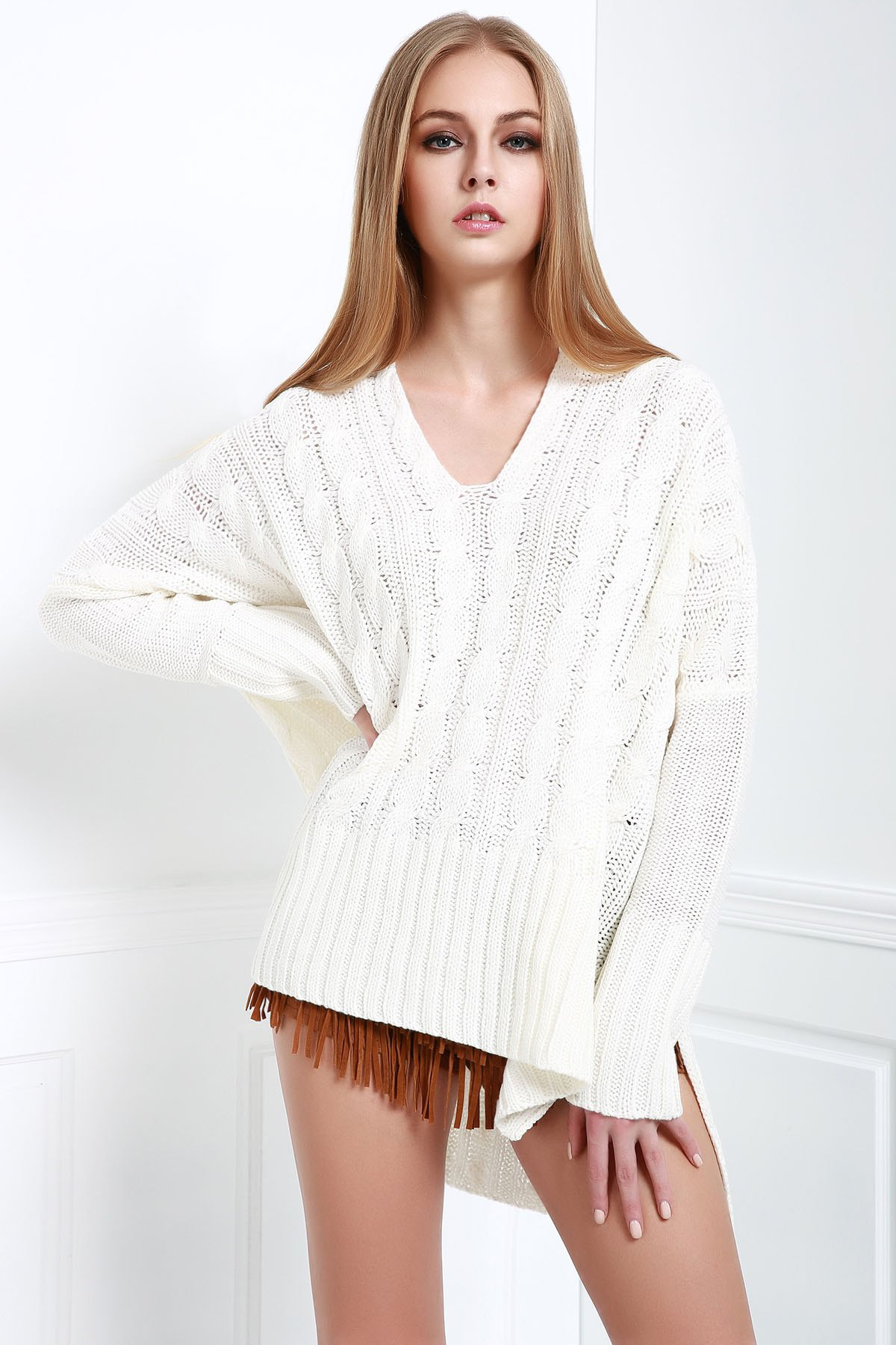 V-Neck Long Sleeve Cable Knit High Low Sweater