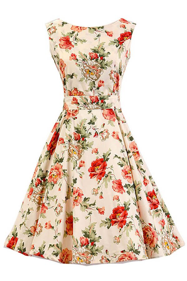 Jewel Neck Sleeveless Floral Print Flare Dress