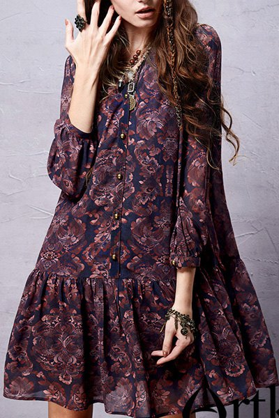 Long Sleeve Ethnic Print Chiffon Dress