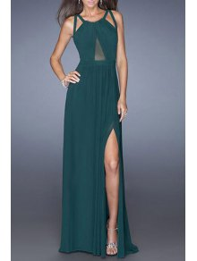 Mesh Design High Slit Crisscross Back Prom Dress