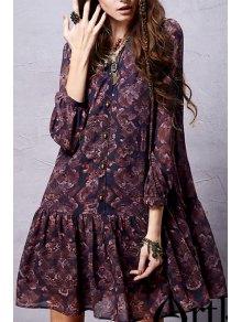 Ethnic Print Long Sleeve Chiffon Dress