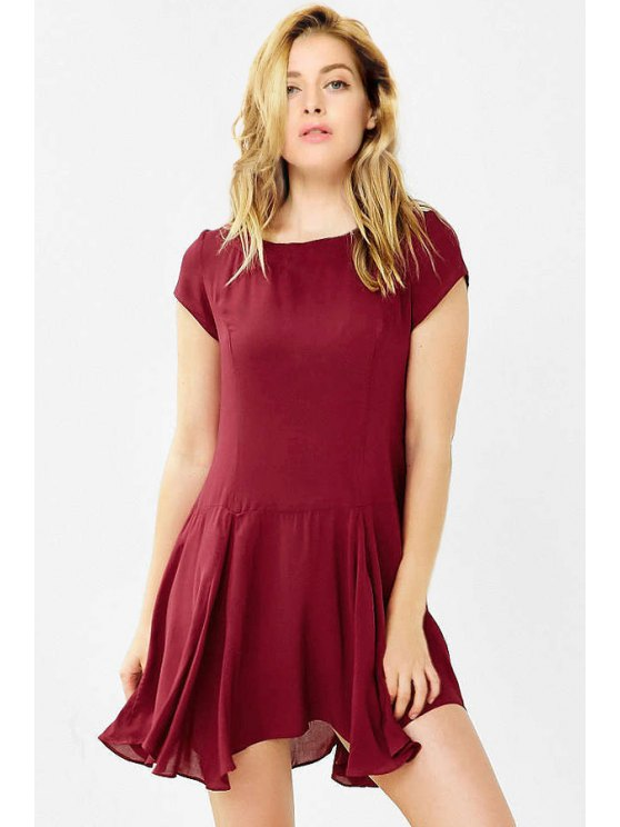 shops Irregular Hem Round Collar Solid Color Dress - DARK RED XS