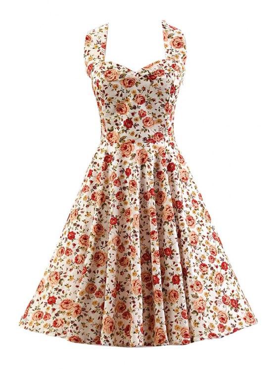 Halter Rose Print años 50 del Rockabilly columpio vestido - Blanco L