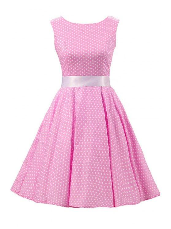 latest Sleeveless Polka Dot Pin Up Dress - PINK 2XL