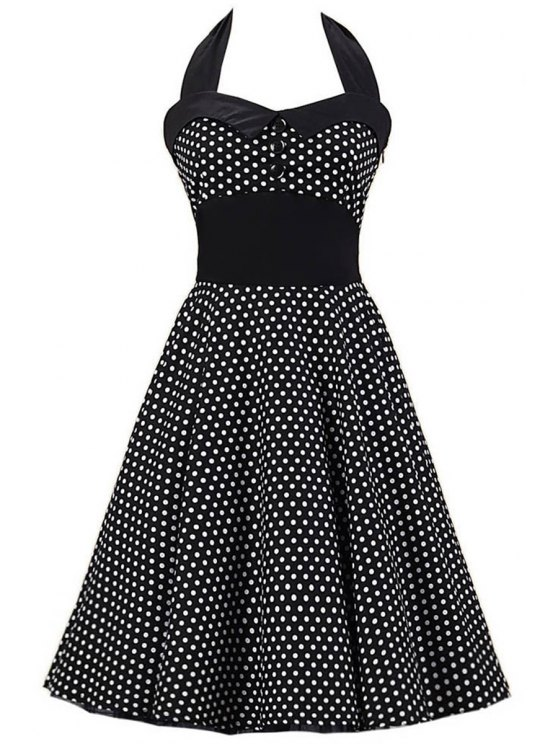 shop Polka Dot Bowknot Design Pin Up Dress - BLACK S