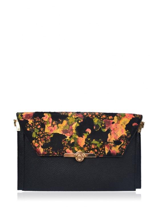 shops Flower Print Cover Metal Clutch Bag - BLACK