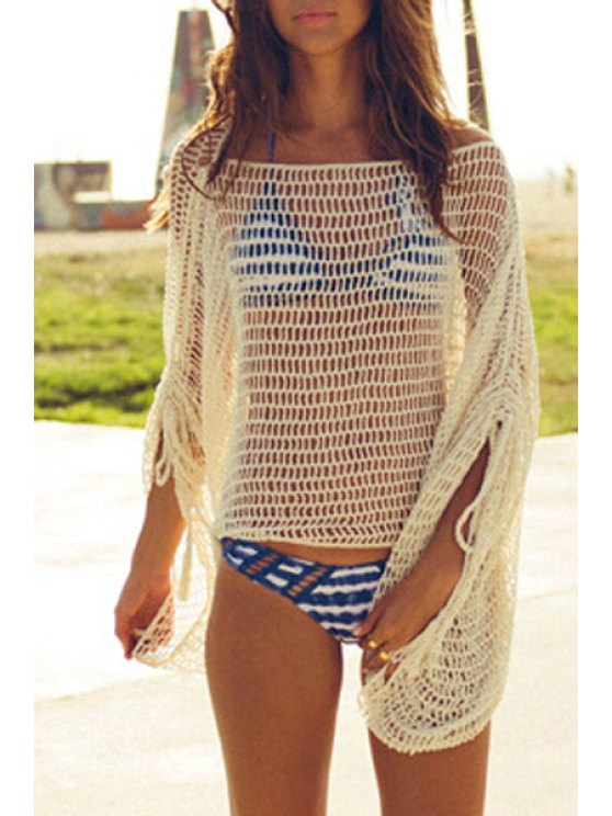 De Punto Loose Fitting Hollow fuera Cover Up - Blanco Única Talla