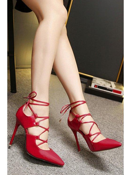 Solid Color Cross-Strap Stiletto Heel Pumps - RED 36 Mobile