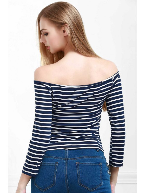 ladies Striped Off The Shoulder Seamless Top - BLUE S