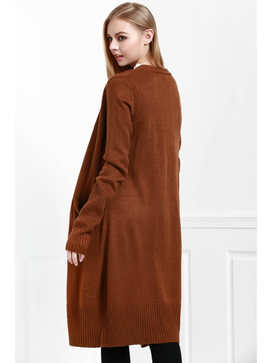 hot Pocket Open Front Long Cardigan - COFFEE S