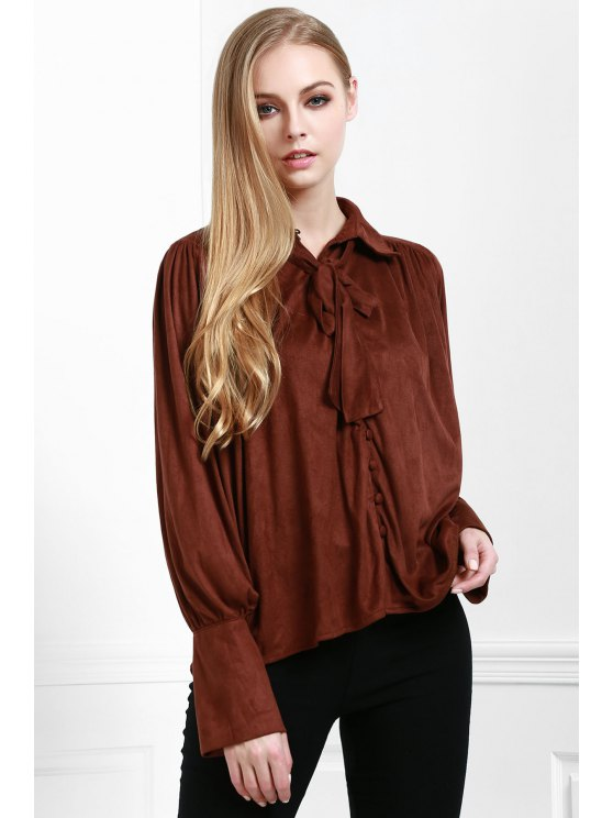 women's Modern Muse Tie Front Blouse - COFFEE M