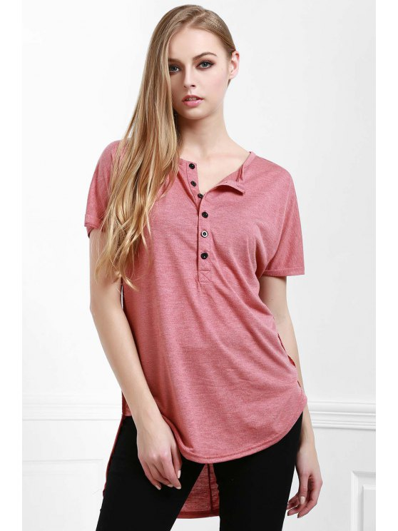 lady High Low V Neck Short Sleeve T-Shirt - WATERMELON RED S