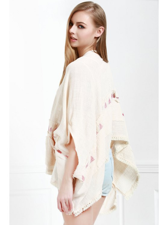 Batwing Sleeve Fringed Kimono - WHITE M Mobile