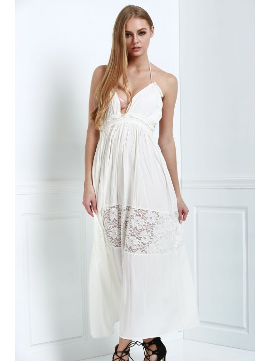 womens White Spaghetti Straps Maxi Dress - WHITE M