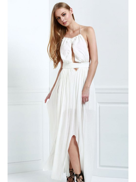 fashion White Halter Deep V Neck Backless Maxi Dress - WHITE S