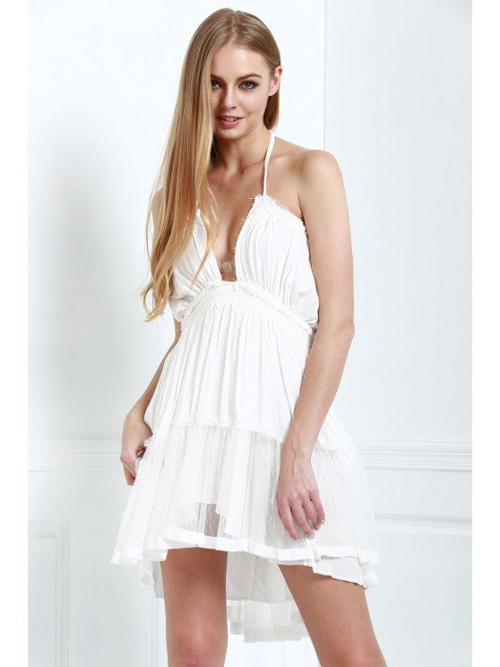 womens Halter Lace-Up Open Back High-Low Hem Splicing Dress - OFF-WHITE ONE SIZE(FIT SIZE XS TO M)