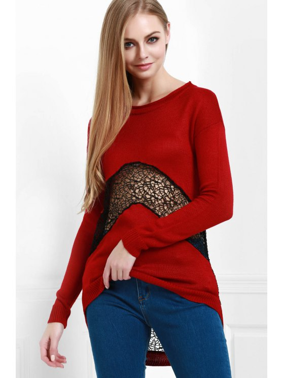 fashion Openwork Lace Spliced Round Color Long Sleeves Sweater - WINE RED XS