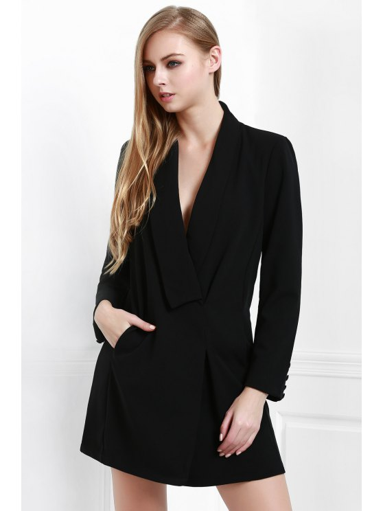 latest Long Sleeve Solid Color Blazer Dress - BLACK S