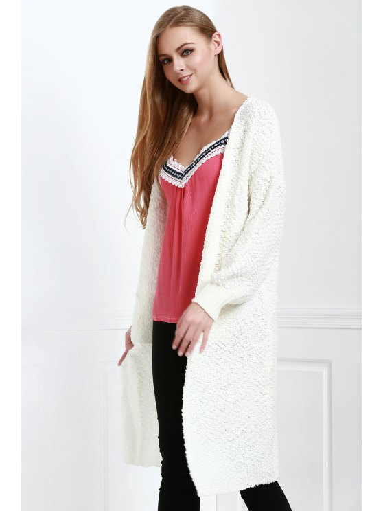 shop Solid Color Pockets Brief Long Sleeves Long Cardigan - WHITE ONE SIZE(FIT SIZE XS TO M)