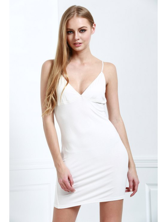 womens Solid Color Bodycon Cami Dress - WHITE M