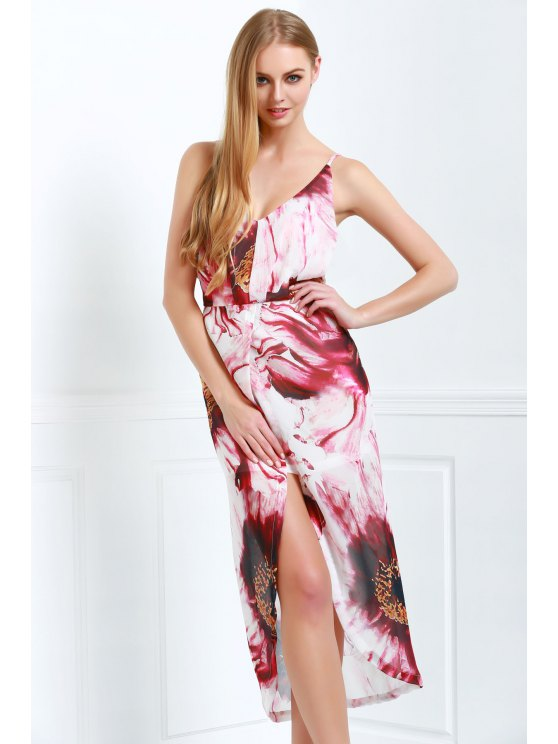 ladies Cami Floral High Slit Maxi Dress - WINE RED S
