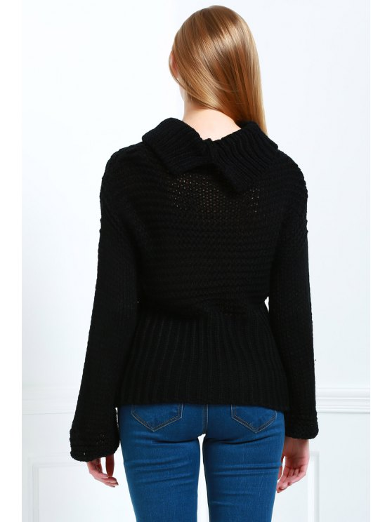 Pure Color Turtle Neck Long Sleeve Jumper - BLACK ONE SIZE(FIT SIZE XS TO M) Mobile