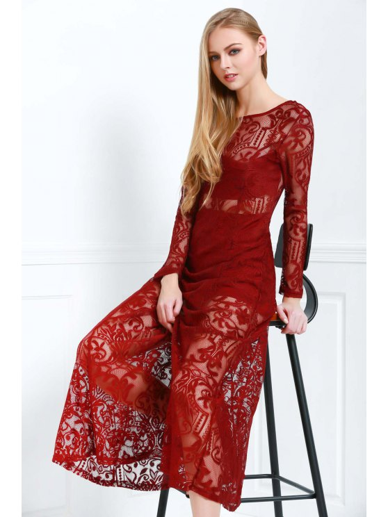 Lace Scoop Neck Long Sleeve Maxi Dress - WINE RED S Mobile