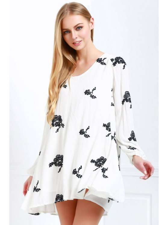 outfit V Neck Floral Embroidery Long Sleeve Dress - OFF-WHITE S