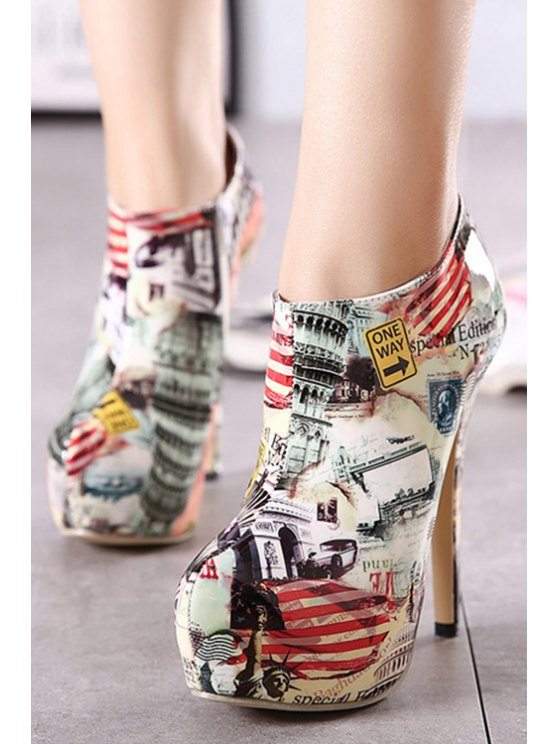 Color Matching Print Platform High Heel Boots - NUDE 37 Mobile