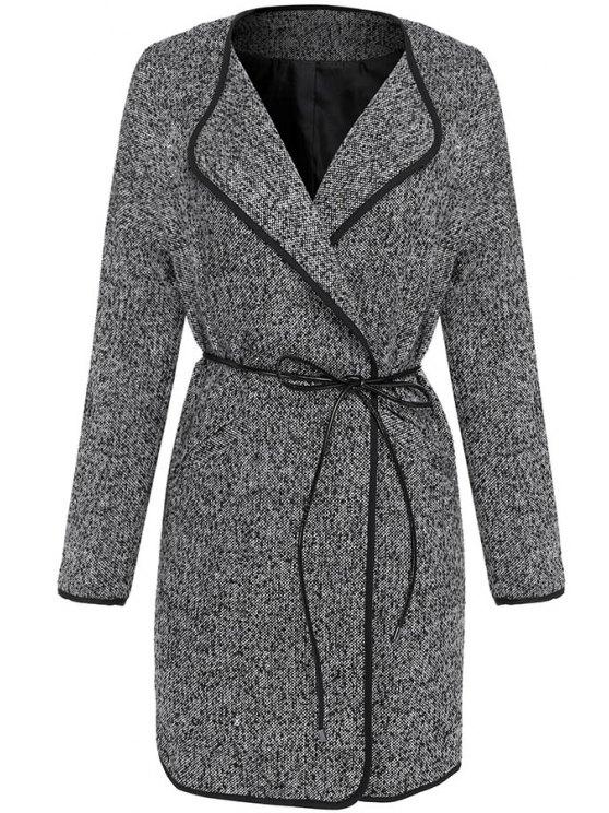 hot Gray Turn Down Collar Long Sleeve Coat - GRAY M