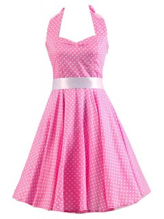 Sleeveless Polka Dot Self-Tie Dress - Pink 2xl