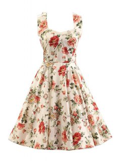 Sleeveless Floral Print Swing Dress - Off-white 2xl