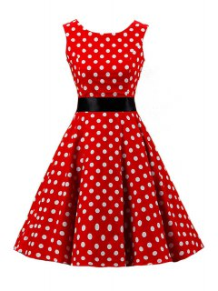 Sleeveless Polka Dot Pin Up Dress - Red M