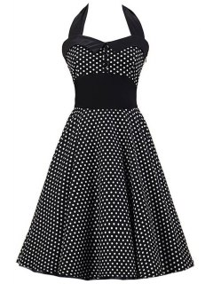 Polka Dot Bowknot Design Pin Up Dress - Black S