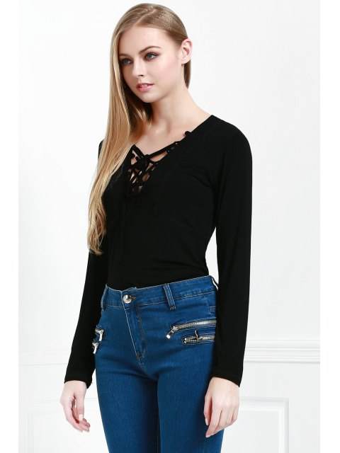 women's Lucky Lace Up Top - BLACK L Mobile