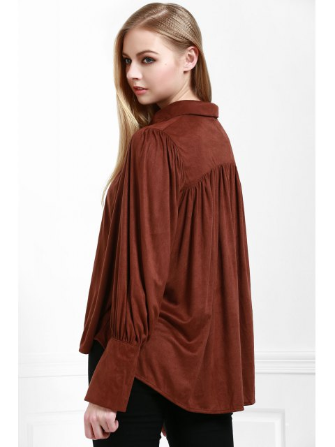 sale Modern Muse Tie Front Blouse - COFFEE L Mobile